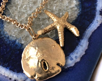Outlet Sale 14kt Gold plated Natural Starfish and Sand Dollar Bracelet