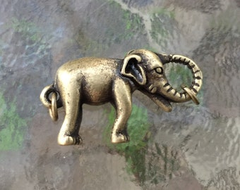 Elephant lobster clasp, (L01B), 1 3/4 x 3/4 inches, brass plated, double sides, Original design and copyrighted! New arrivals!