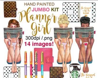 Planner girl clipart messy bun clipart kate spade planner graphics Starbucks clipart African American art fashion graphics Printablehenry