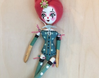 "9"" paper clay circus doll ornament"