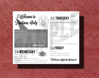 Destination Wedding Weekend Itinerary, Italy Destination Wedding Welcome Note with Weekend Itinerary
