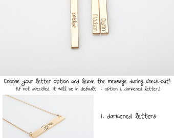 Vertical Bar Necklace, Minimalist Jewelry, Rose Gold or Gold filled Necklace, Personalized Tag Necklace, Custom Engraved, Mothers Necklace