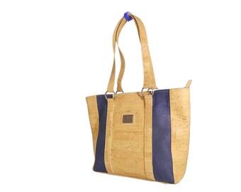 BLUE EXCEL cork medium handbag, tote . EXCEL materials. Handmade. Eco--friendly. Vegans