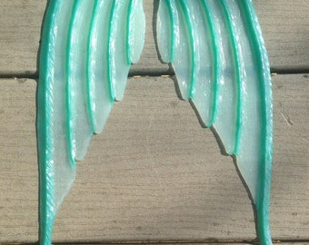 Ready to ship!  Translucent green silicone fins for fabric or silicone mermaid tails (Monarch style, textured on one side)