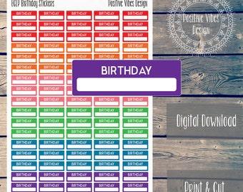 Printable Birthday Stickers for Erin Condren Life Planner Digital Download
