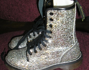 Vintage, 80s, Silver glitter, Doc Marten, boots, size 2 UK, 4 US, MINT, glitter boots,  Made in England