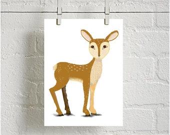 Cute Deer Digital downloadable Print, Woodland Animal Print, Nursery Print, kids room decor, Printable Nursery, baby shower gift, baby decor