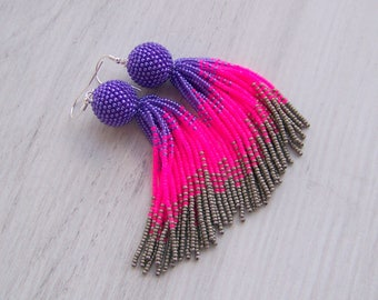 4 inches Ombre purple, hot pink and grey Beaded tassel earrings - Statement Earrings - Long Dangle  earrings - Fringe beadwork earrings