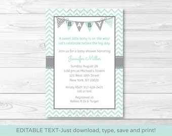Cute Chevron Baby Shower Invitation / Chevron Pattern / Green & Grey / Gender Neutral / INSTANT DOWNLOAD Editable PDF A230