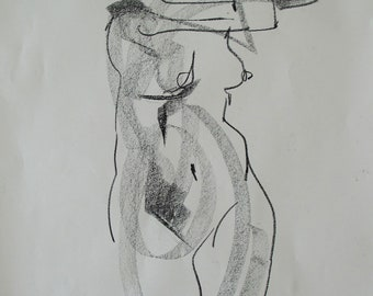 Conté crayon life drawing of a woman holding her face