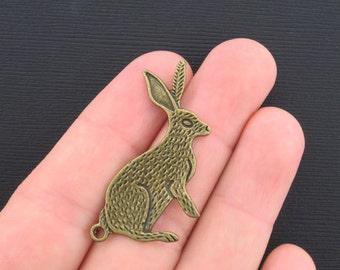 2 Large Rabbit Charms Antique Bronze Tone - BC090