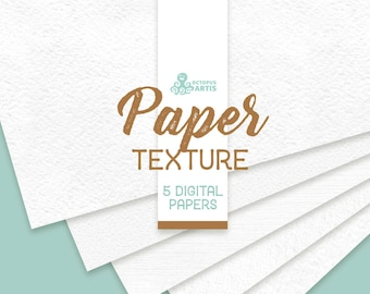 Paper Textures. 5 digital papers, 12x12in, resources, clipart, white, watercolor paper, background, backdrop, pattern, jpg, diy