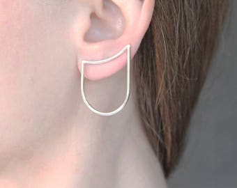Silver Ear Climber, Curved Line & Arch Sterling Silver Ear Climber, Pick Single Or Pair, Minimalist Silver Ear Pins, Ear Crawlers, Gift