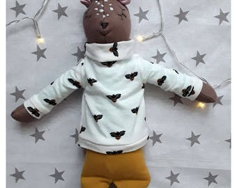 Design Stuffed deer-girl 45 cm with 2 sets of clothing handmade