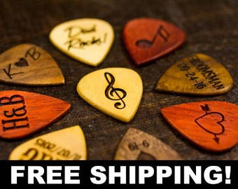 Personalized Guitar Picks - Custom Guitar Pick - One Custom Pick - Custom Engraved Guitar Pick - Wood Guitar Picks - Custom Musician Gift