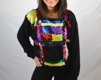 Vintage 80ss Rainbow Cropped Sequined Sweater - NWT Forenza