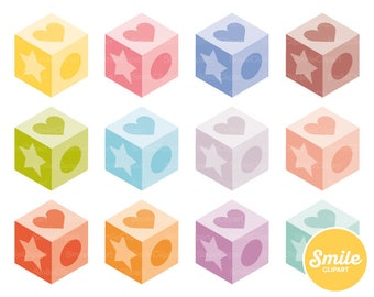 Baby Blocks Clipart Illustration for Commercial Use | 0475