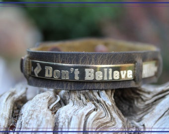 Don't Believe Everything You Think - Handmade Thin Jewelers Brass Mental Health Awareness Bracelet-Honey Genuine Leather1016HO