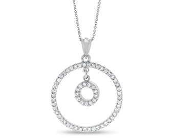 1.00 CT Diamond Circle of Love Drop Pendant w/ Chain in Solid 14k White Gold