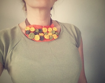 Upcycled fabric orange necklace with spiral fabric beads - free shipping
