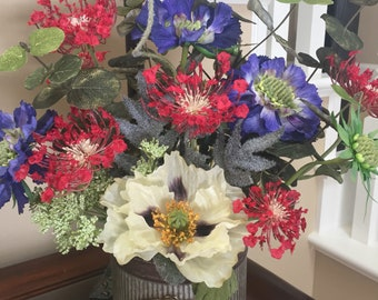 Colorful Wild Flower Arrangement, Spring Flower Arrangement, Tabletop Centerpiece, Kitchen Flower Arrangement,  Silk Flower Arrangement,