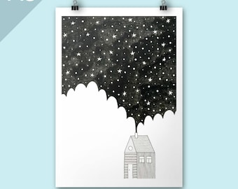 House in the Night / Christmas art print / A3 print / Art print / Stars Illustration / winter poster art / graphic art / Festive art print
