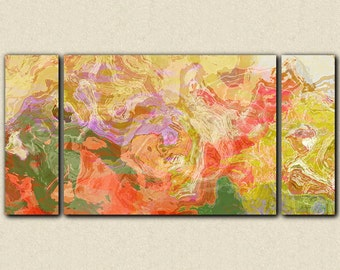 "Oversize triptych contemporary art stretched canvas print, 30x60 to 40x78, in bright colors, from abstract painting ""Fiesta"""