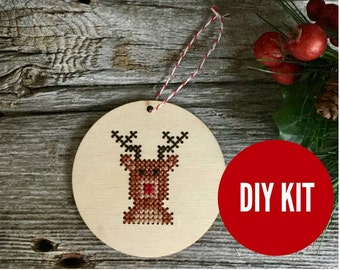 Reindeer Christmas tree ornament - easy DIY cross stitch kit - laser cut wood cross stitch project for beginners - by Canadian Stitchery