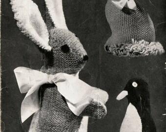 Vintage Rabbit Cat Penguin Toys Knitting Pattern PDF 549 from WonkyZebra and ToyPatternLand