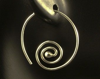 Silver Swirl Hoops Sterling Goddess Feminine Pretty Tribal One Inch Hoop Earrings BoHo Sheek Earthy Elegance