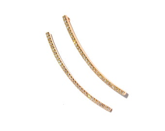 14k Rose Gold Micro Pave Diamond Ear Climber Earrings
