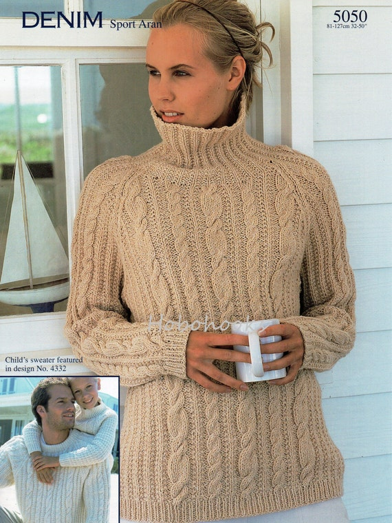 Womens Mens Aran Sweater Knitting Pattern Pdf Ladies Cable