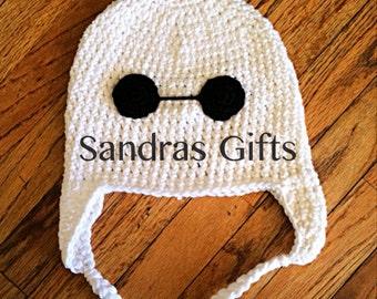 White robot companion crochet hat big hero