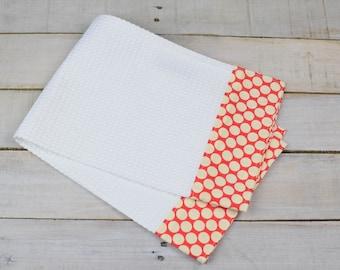 Kitchen Towel, Hand Towel, Tea Towel, Waffle Weave Towel, Dish Towel, Kitchen Hand Towel-Cherry Dot