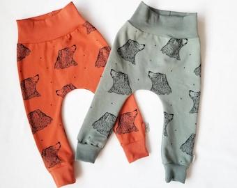 Bear baby pants, organic baby clothes, baby harem pants, organic baby leggings, toddler leggings