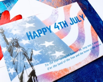 Home of the Brave 4th July Greeting Card, Independence Day American Flag Greeting Card, Statue of Liberty Celebration Card,