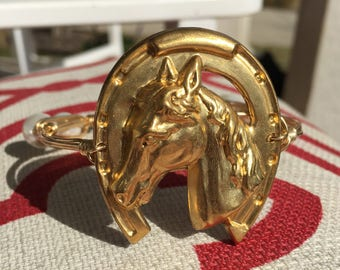 Horseshoe Bangle || Carolina Cup || Kentucky Derby || SteepleChase Horse Race || Wire-wrapped Bangle || Brass Stamped || Lucky Horseshoe