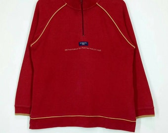 Rare!! MCGREGOR sweatshirt spell out embroidery half zipper Pull over jumper red colour large size