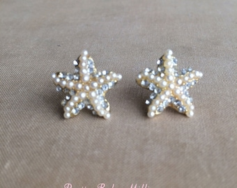 Beach Wedding Earrings - Starfish earring pearl rhinestone, beach wedding jewelry, post stud star accessories accessory GOLD PEARL