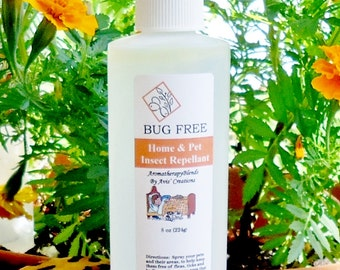 Bug Free Home & Pet Insect Repellent Spray, Natural, Organic,     Eco Friendly and Nontoxic, 8oz Size.