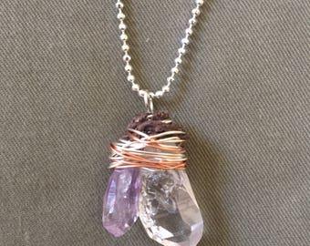 Peace of Mind Bundle - amethyst and quartz necklace