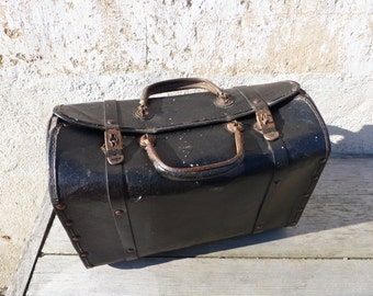 Vintage Antique 1900 French  bag black  leather timeworn