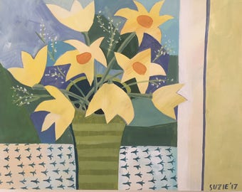 IN THE WINDOW, Flirty Flowers, Happy Still Life, Yellows and Blues