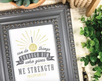Philippians 4:13, Bible Verse, Cricut, Silhouette, SVG, PNG, Scripture Art, Illustrated Faith, I Can do all Things, Him, Give me Strength