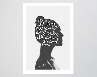 Denken / Head, Think, Francis Picabia, Fine Art-Print, Wall-Art, Minimal Poster Art, Typography Art, Premium Poster, Kunstdruck Poster