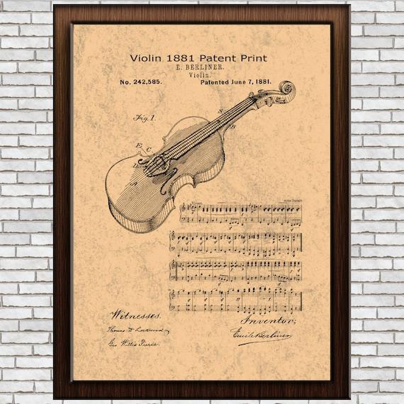 Violin Instrument Patent Print Antique Violin Violin Wall Art