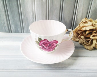 Adderley Tea Cup and Saucer / Cup and Saucer / Adderley China Teacup / Tea Party / Pink Teacup / Bone China Teacup / Adderley China