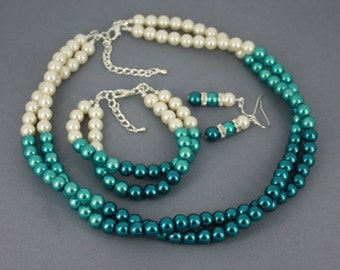 Wedding Jewelry Bridesmaid Gift Ombre Jewelry Shades of Teal Necklace Twisted Necklace Chunky Necklace Set Green Jewelry