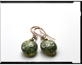 Handmade mermaid green with Picasso wash earrings