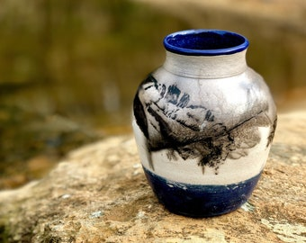 Feather Raku Vase with Dark Blue Glaze